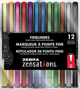 Assorted - Zebra Zensations Fineliner Pens 12/Pkg 0.8mm