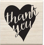 """Thank You Heart - Janet Dunn Mounted Stamp 2.5""""X2.5"""""""