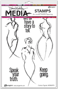"""Contour Figures - Dina Wakley Media Cling Stamps 6""""X9"""""""
