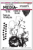 """Friends To The End - Dina Wakley Media Cling Stamps 6""""X9"""""""