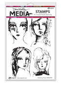 """Interesting Faces - Dina Wakley Media Cling Stamps 6""""X9"""""""