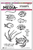 "Scribbly Fishes - Dina Wakley Media Cling Stamps 6""X9"""