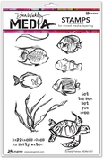 """Scribbly Fishes - Dina Wakley Media Cling Stamps 6""""X9"""""""