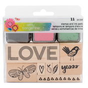Wooden Stamps w/ Ink Pads - Sunshine & Good Times - Amy Tangerine