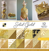 """Solid Gold W/Gold Foil - DCWV Double-Sided Paper Stack 12""""X12"""" 36/Pkg"""