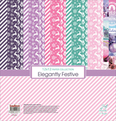 "20 Double-Sided & 4 Single-Sided - ScrapBerry's Elegantly Festive Paper Pack 12""X12"" 24/Pkg"