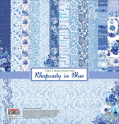 "6 Double-Sided & 2 Single-Sided - ScrapBerry's Rhapsody In Blue Paper Pack 12""X12"" 8/Pkg"