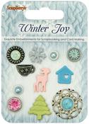 Assorted - ScrapBerry's Winter Joy Decorative Brads 11/Pkg
