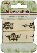 Elements 20mmX1m Each - ScrapBerry's Discover Italy Printed Cotton Ribbon 2/Pkg