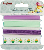 1m Each - ScrapBerry's Afternoon Tea Ribbon & Trim 4/Pkg