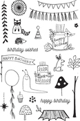 "Woodland Birthday - Flora & Fauna Clear Stamps 4""X6"""
