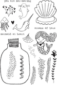 "Mermaid Love - Flora & Fauna Clear Stamps 4""X6"""