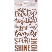 Patio Party Printed Wood Phrase Chipboard Thickers - Pebbles