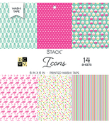 "Washi Icon Prints - DCWV Single-Sided Cardstock Stack 6""X6"" 14/Pkg"