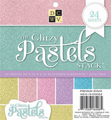 """Glitzy Pastels Solid - DCWV Single-Sided Cardstock Stack 6""""X6"""" 24/Pkg"""