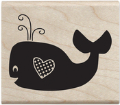 "Whale - Janet Dunn Mounted Stamp 2""X2.5"""