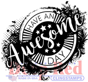 "Awesome Day - Deep Red Cling Stamp 3""X4"""