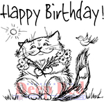 """Birthday Cat - Deep Red Cling Stamp 3""""X4"""""""