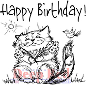 "Birthday Cat - Deep Red Cling Stamp 3""X4"""