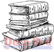 "Library Books - Deep Red Cling Stamp 3""X4"""