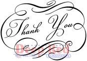 "Fancy Thank You - Deep Red Cling Stamp 3""X5"""
