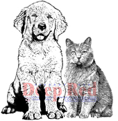 "Furry Friends - Deep Red Cling Stamp 4""X5"""