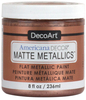 Rose Gold - Americana Decor Matte Metallics 8oz Americana Decor Matte Metallic paint will add a classic, matte metallic sheen to furniture and home decor projects. Cures to a hard, smooth finish in 1 to 2 weeks. Perfect for subtle accenting or full coverage application. This package contains 8oz of matte metallic finish. Conforms to ASTM D4236. Comes in a variety of colors. Each sold separately. Made in USA.