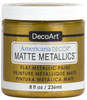 Gold - Americana Decor Matte Metallics 8oz Americana Decor Matte Metallic paint will add a classic, matte metallic sheen to furniture and home decor projects. Cures to a hard, smooth finish in 1 to 2 weeks. Perfect for subtle accenting or full coverage application. This package contains 8oz of matte metallic finish. Conforms to ASTM D4236. Comes in a variety of colors. Each sold separately. Made in USA.