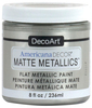 Soft Silver - Americana Decor Matte Metallics 8oz Americana Decor Matte Metallic paint will add a classic, matte metallic sheen to furniture and home decor projects. Cures to a hard, smooth finish in 1 to 2 weeks. Perfect for subtle accenting or full coverage application. This package contains 8oz of matte metallic finish. Conforms to ASTM D4236. Comes in a variety of colors. Each sold separately. Made in USA.