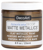 Aged Bronze - Americana Decor Matte Metallics 8oz Americana Decor Matte Metallic paint will add a classic, matte metallic sheen to furniture and home decor projects. Cures to a hard, smooth finish in 1 to 2 weeks. Perfect for subtle accenting or full coverage application. This package contains 8oz of matte metallic finish. Conforms to ASTM D4236. Comes in a variety of colors. Each sold separately. Made in USA.
