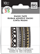 Black & White - Happy Planner Mini Washi Tape 3mmx6.56yd Each 10/Pkg