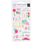Confetti Wishes Puffy Stickers - Pink Paislee