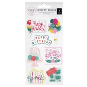 Confetti Wishes Embossed Puffy Stickers - Pink Paislee