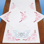 Butterfly - Jack Dempsey Stamped Dresser Scarf & Doilies Perle Edge