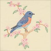 """Bluebird - Jack Dempsey Stamped Ecru Quilt Blocks 18""""X18"""" 6/Pkg"""