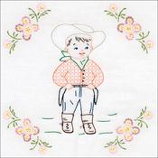 "Cowboy - Jack Dempsey Stamped White Themed Quilt Blocks 14""X14"" 6/pkg"