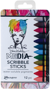 Dina Wakley Media Scribble Sticks 2 12/Pkg