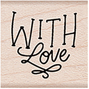 """With Love Message - Hero Arts Mounted Rubber Stamp 1.125""""X1.125"""""""