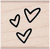 "Three Tiny Hearts - Hero Arts Mounted Rubber Stamp 1.125""X1.125"""