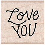 "Love You Message - Hero Arts Mounted Rubber Stamp 1.125""X1.125"""