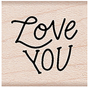 """Love You Message - Hero Arts Mounted Rubber Stamp 1.125""""X1.125"""""""