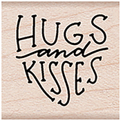 "Hugs & Kisses Message - Hero Arts Mounted Rubber Stamp 1.125""X1.125"""