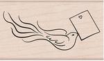 "Love Note Bird - Hero Arts Mounted Rubber Stamp 3.75""X1.375"""