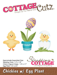 "Chickies W/Egg Plant 1.2"" To 2.5"" - CottageCutz Die"