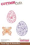 "Floral Eggs & Butterflies 1.7"" To 2.5"" - CottageCutz Die"