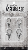 Large Silver Lobster Claws - Tim Holtz Assemblage Clasps 4/Pkg