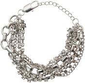 Silver Multistrand W/Lobster Enclosure - Tim Holtz Assemblage Bracelet