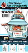 Happy Camper - Art Impressions Mini TryFolds Stamp & Die Set
