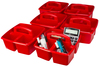 Red - Storex Small Caddy 9.25 X9.25 X5.25  Organize your essential supplies for easy use and storage. The Caddy features three compartments (one large and two small); a comfort grip handle with no sharp edges; stacks and nests deeply; and is completely washable and dishwasher safe. Made of impact resistant plastic. Comes in a variety of colors. Each sold separately. This package contains one 9.25X9.25X5.25 inch small caddy with three compartments. Imported.