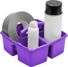 Purple - Storex Small Caddy 9.25 X9.25 X5.25  Organize your essential supplies for easy use and storage. The Caddy features three compartments (one large and two small); a comfort grip handle with no sharp edges; stacks and nests deeply; and is completely washable and dishwasher safe. Made of impact resistant plastic. Comes in a variety of colors. Each sold separately. This package contains one 9.25X9.25X5.25 inch small caddy with three compartments. Imported.